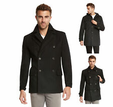 Men's Euro Slim Fit Wool Peacoat Jacket by Jack & Jones