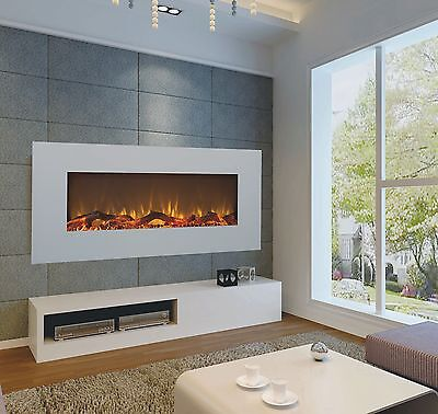 2018 50 INCH WIDE LED FLAMES WHITE GLASS TRUFLAME WALL MOUNTED ELECTRIC FIRE