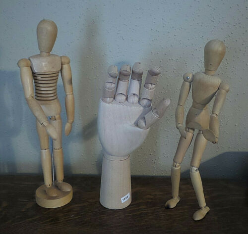 Lot of three (3) Wooden Artist Jointed Mannequins / Models ~ Hand and 2 Figures