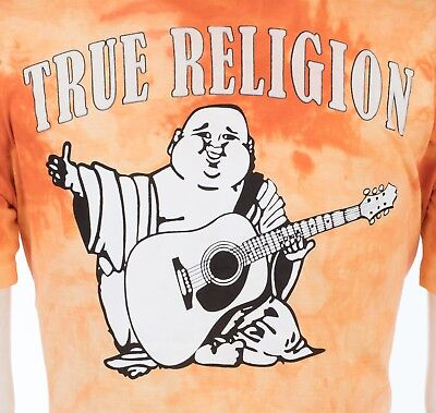 TRUE RELIGION Mens T-Shirt TIE DYE BUDDHA Orange $79 Jeans -