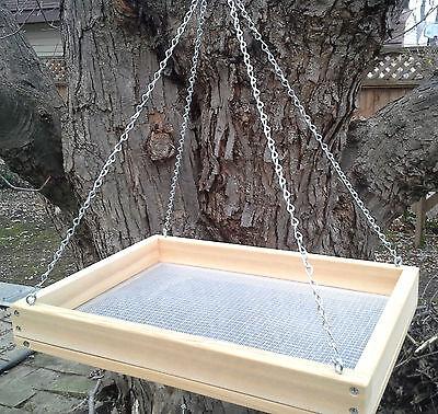 "Large 16"" Cedar Platform Screen Bird Feeder w/ Chains"