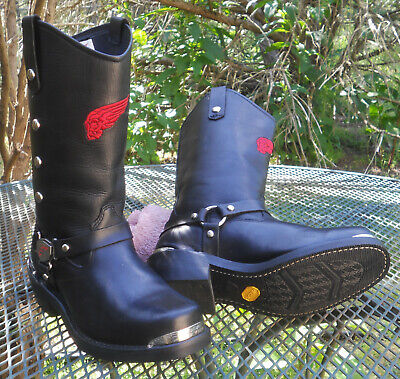 RED WING Black Leather Engineer BOOTS Biker Harness Motorcycle Riding Womens 9