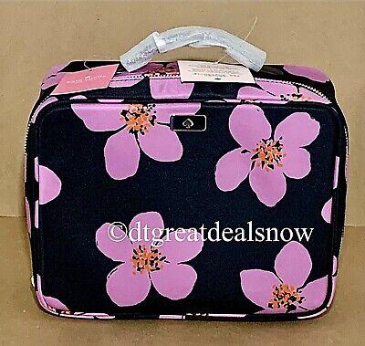 NEW Kate Spade Travel Cosmetic Bag Dawn Grand Flora Black Floral Nylon $129