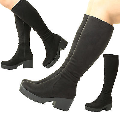 Black Chunky High Heel (Ladies Womens Black Chunky Heel Suede Stretch Wide Calf Fit Calf Knee High)