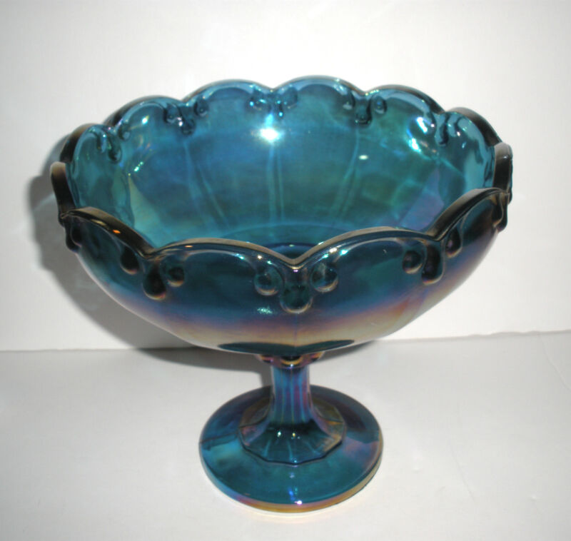 Vintage Blue Carnival Glass Big Compote 1970-1992 Indiana Glass Teardrop #1011