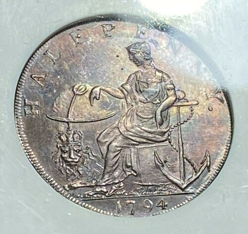 1794 Great Britain 1/2P Hampshire-Emsworth Token NGC MS64BN Prooflike Beauty CHN