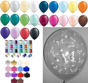 10-Table-Kit-Clear-Butterflies-Helium-Balloons-Ribbons-Weights-Wedding-Birthday