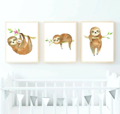 Watercolor Sloth Nursery Art - Sloth Nursery Art - Woodland 8x10 prints
