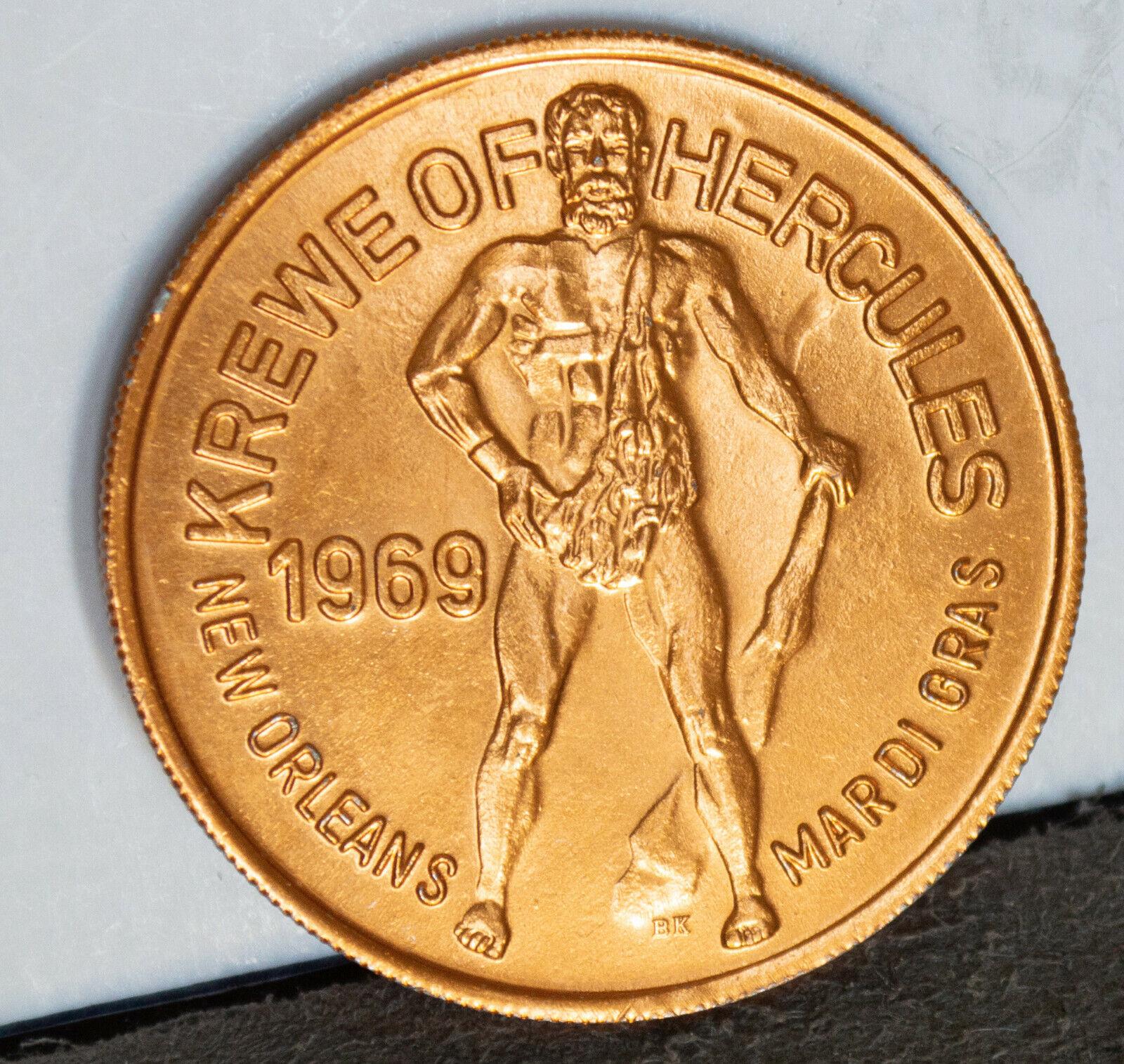 1969 LABORS OF HERCULES Gold Alum Mardi Gras Doubloon