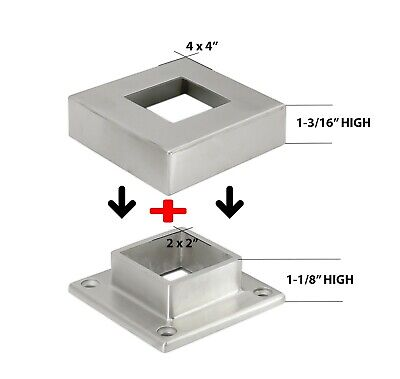 Stainless Steel 316 Grade Base Flange Plus Base Cover For 2x2 Square Post