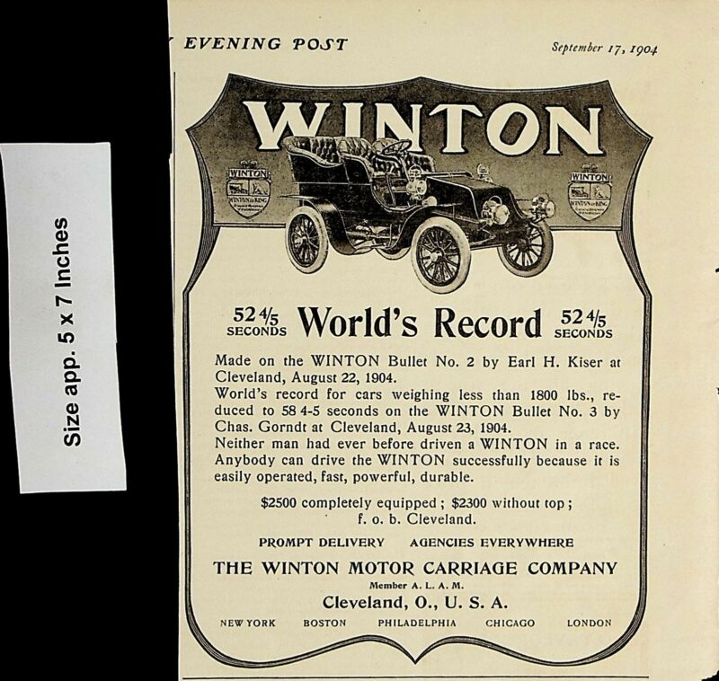 1904 Winton World Record Motor Carriage Automobile Car Vintage Print Ad 5119