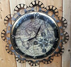 Steampunk Wall Clock- Antique World Map-Compass Rose- Repurposed Materials