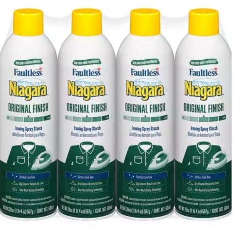 4 Pack of Niagara Original Finish Ironing Spray Starch 20 oz each