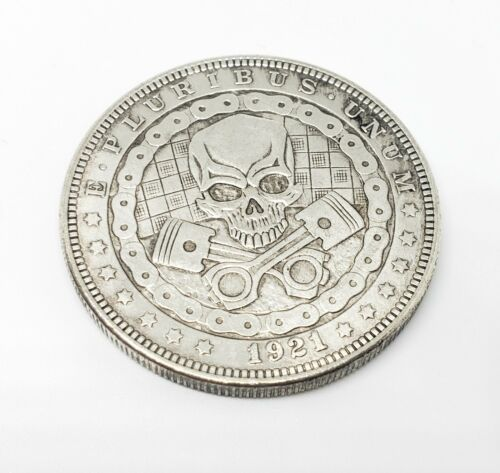 1921 Morgan Dollar Hobo Nickel Coin motor skull mad max