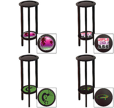 Plant Stand End Table Cappuccino Espresso Finish with Novelty Theme Game Room - Cappuccino Finish Plant Stand