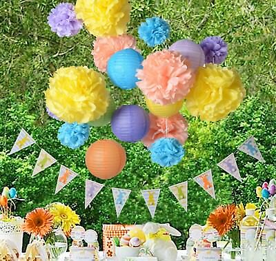 Easter bunny DIY banner party home decoration photo pros booth lantern pompom (Easter Lantern Decorations)
