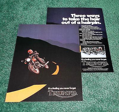 1982 TRIUMPH MOTORCYCLE BROCHURE BONNEVILLE T140ES FOLDER ROYAL EXECUTIVE POSTER