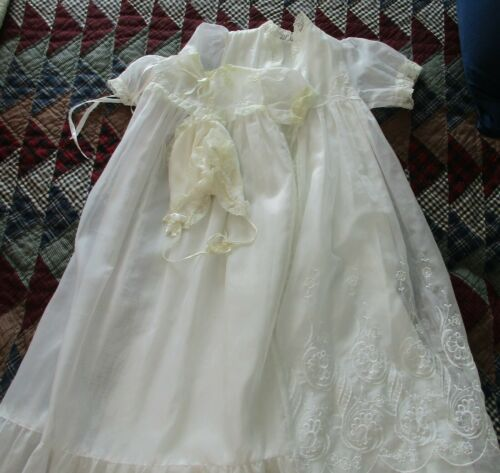 Vintage Infant Embroidered & Lace Christening Gown Robe & Bonnet