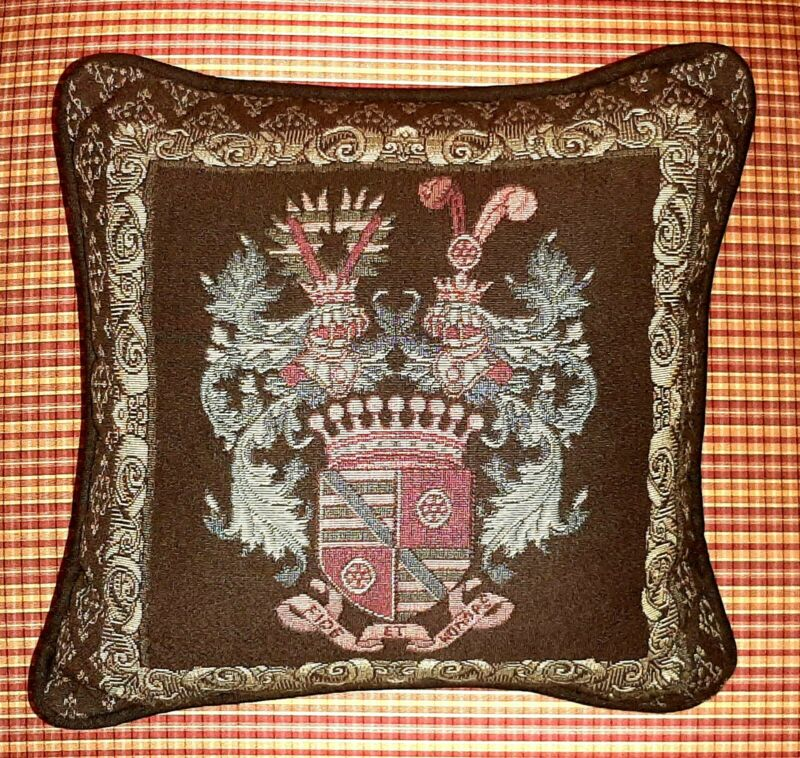 Vintage Throw Pillow - Crest - Coat of Arms Motif - Needlepoint Tapestry Fabric