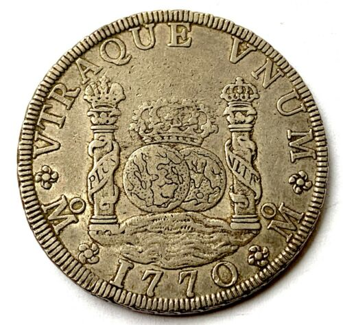 MEXICO COLONIAL SPAIN 8 REALES 1770 PILLAR DOLLAR