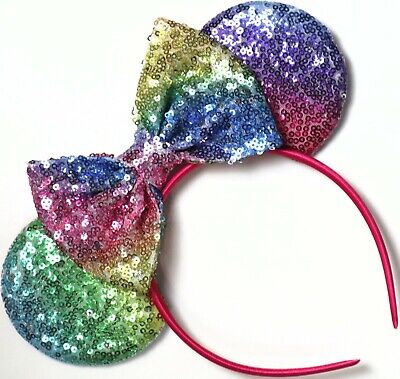 Disney Inspired Gay Days Pride Minnie Mouse Sequin Pastel Rainbow Ears Headband - Sequin Minnie Mouse Ears