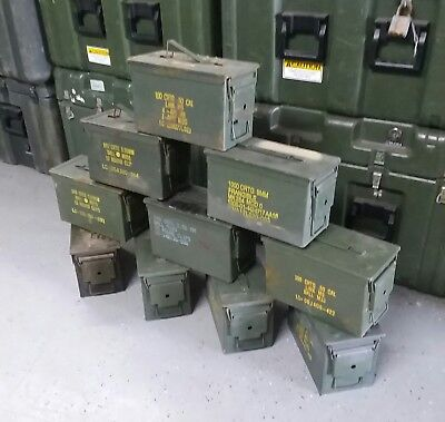 Used, US Military 50 CAL M2A1 Steel Ammo Can LOT OF 10 Airtight 12x6.5x7.5 FREE SHIP for sale  Pensacola