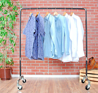 Industrial Pipe Rolling Clothing Rack By William Roberts Vintage - 36 Wide
