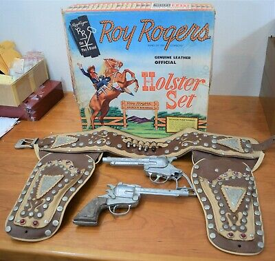 ROY ROGERS Genuine Leather Official HOLSTER SET Complete With BOX GUNS & BELT!
