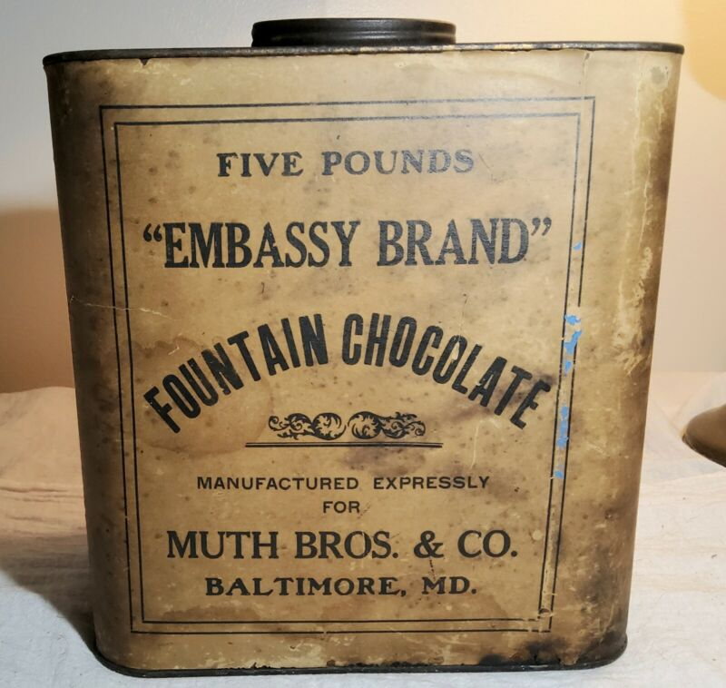 RARE EMBASSY BRAND FOUNTAIN CHOCOLATE 5 LB TIN wLABEL MUTH BROS. & CO. BALTIMORE