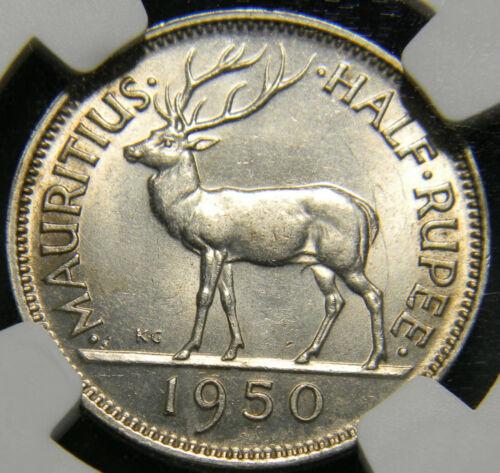 1950 Mauritius 1/2 rupee NGC MS 62
