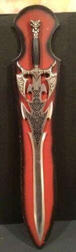 Fantasy Tribal Skull SWORD Decorative Medium Size Stainless w Wood Display L@@K