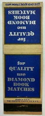 For Quality Use Diamond Book Matches Vintage Matchbook Cover