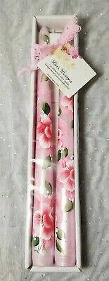 """Tapered Candle Sticks Pink Roses & Buds Hand Painted 10"""" Set"""