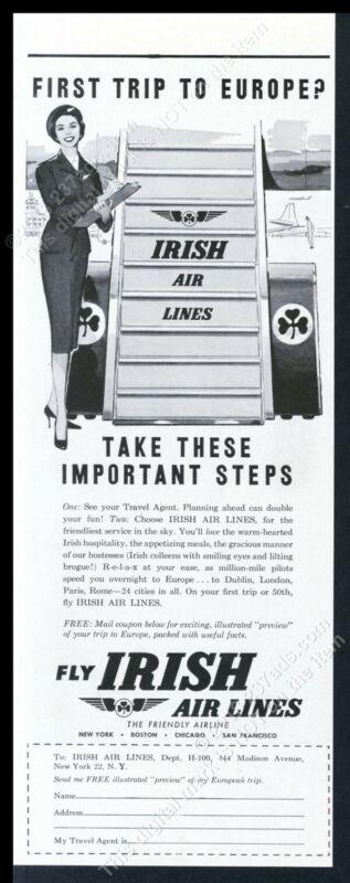 1959 Aer Lingus stewardess plane steps art vintage print ad