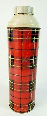 VINTAGE 1964 KING SEELEY LARGE Thermos red Plaid  1960s