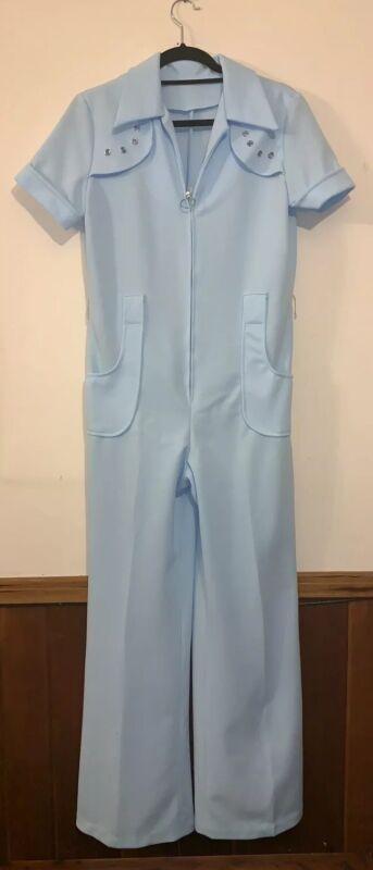 Vintage Jumpsuit Disco Romper 1970s Bell Bottom Blue Short Sleeve Zips Sz M
