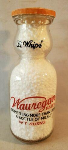 Pint 2 Color Pyro Round Cream Top Milk Bottle Wauregan Dairy Windham County NR