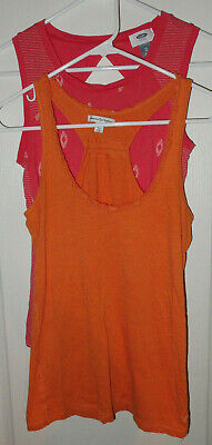 Lot 2 Orange Tank Tops *Old Navy Keyhole & American Eagle Outfitters Racer XS Old Navy Outfitters