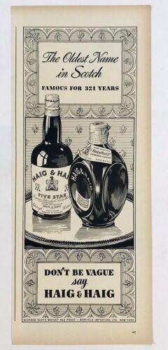 Original 1940s 1948 Print Ad Haig & Haig Oldest Name In Scotch Gorgeous Art