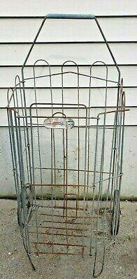 Vintage Metal Rolling Market Grocery Shopping Basket Cart Collapsible 1960s