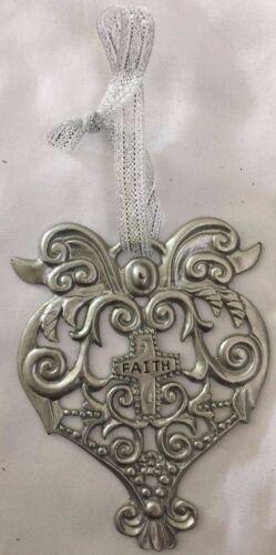 Silver Heart FAITH Cross Christmas Tree Ornament with Silver Ribbon