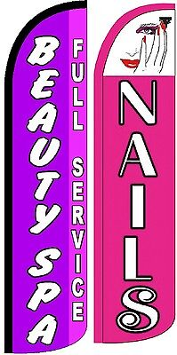 Beauty Spa Nails Windless Standard Size Swooper Flag Sign Banner Pk Of 2