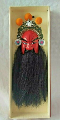 Chinese opera wall face mask red general Kuan-Yu black beard facial makeup w/box