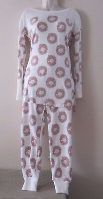- New Nordstrom Honeydew 2pc Set Pajamas PJ's, White Cat w/Ring of Flowers Sz M