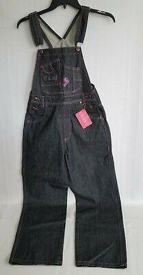 Crest Jeans Overalls Bib Womens Denim Black Dark Wash Pink Embroidered Sz M NEW (Bib Overalls Pink)