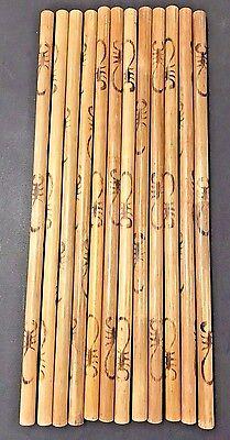 """Eskrima Escrima Kali Arnis Fighting Sticks SCORPION design Rattan 29"""" 2 pair"""
