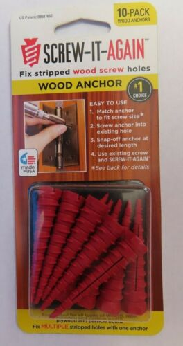 Screw-It-Again #2 to #16 Thread x 2 In. Red Plastic Wood Anchor #SIA-10pk  NEW