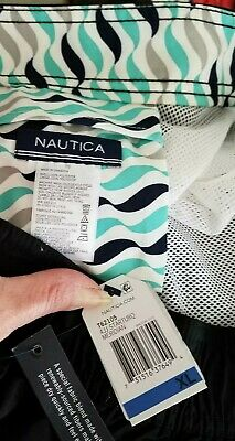 NWT Mens NAUTICA SWIM TRUNKS Size XL Blue and Black Colorblock Front Tie