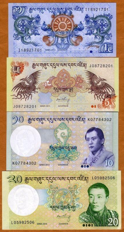 SET, Bhutan, 1;5;10;20 Ngultrum, 2006-2013 P-New, UNC