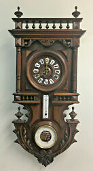 Rare Antique Black Forest Highly Carved Wall Clock With Barometer & Therometer